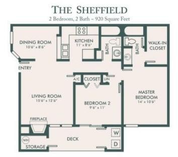920 sq. ft. Sheffield floor plan