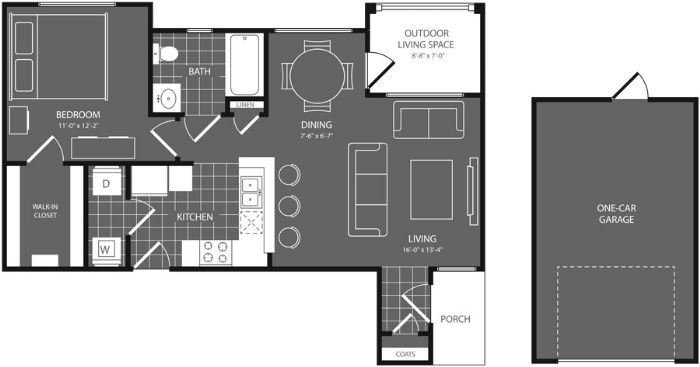 722 sq. ft. Cypress floor plan