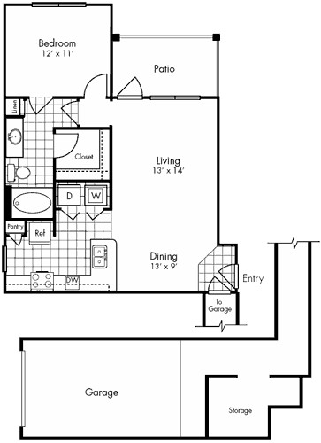 769 sq. ft. Montrose floor plan