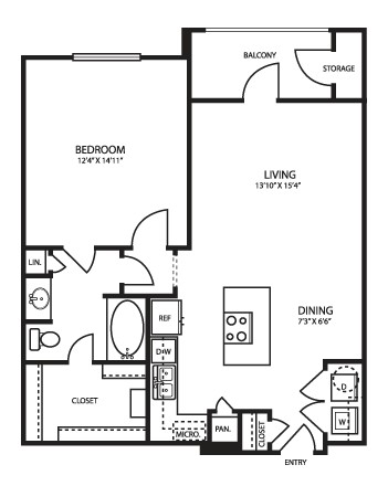 793 sq. ft. A2 floor plan