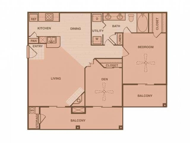 860 sq. ft. Westwind floor plan