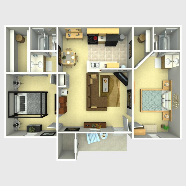 885 sq. ft. D floor plan