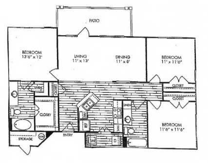 1,277 sq. ft. C1 floor plan