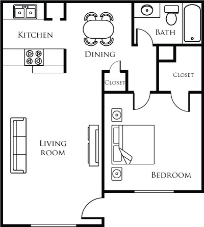 688 sq. ft. 11B floor plan