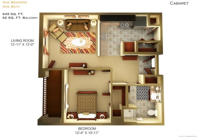 649 sq. ft. A1 floor plan