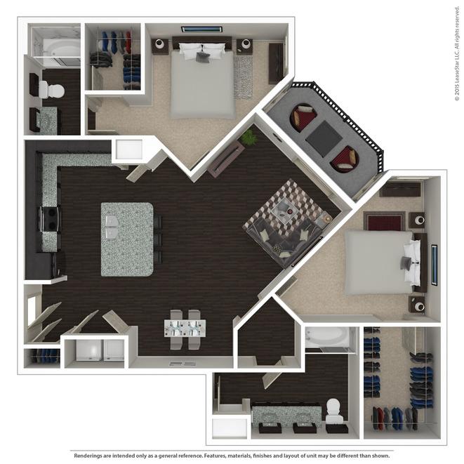 1,221 sq. ft. B2 floor plan