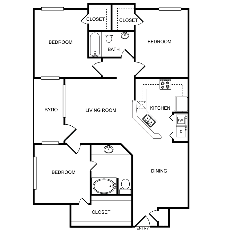 1,256 sq. ft. G floor plan