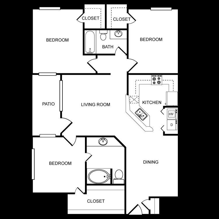 1,256 sq. ft. G floor plan