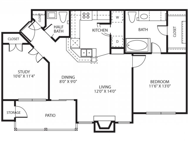 901 sq. ft. A3/La Fite floor plan