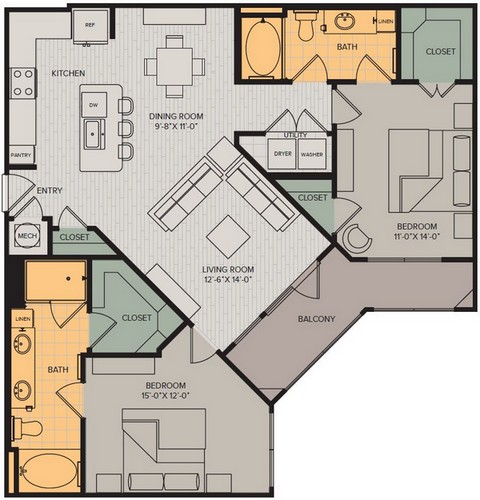 1,188 sq. ft. Vista II floor plan
