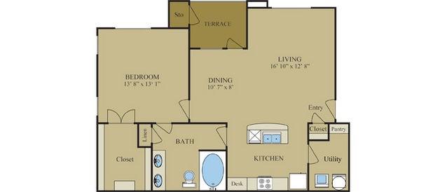 868 sq. ft. A3 floor plan