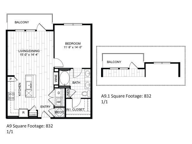 832 sq. ft. A9 floor plan