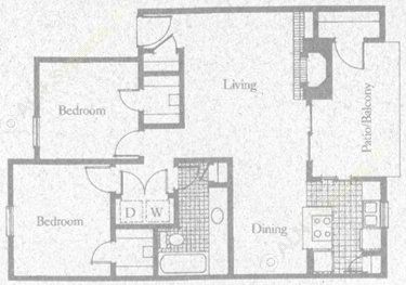 920 sq. ft. 2B1 floor plan