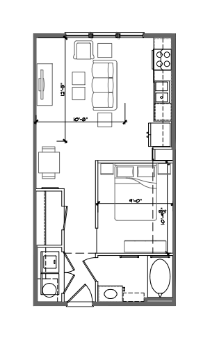 554 sq. ft. E1 floor plan