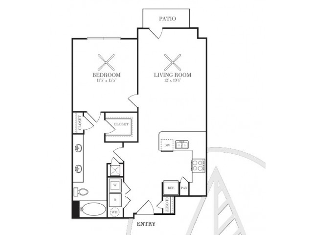 814 sq. ft. A4F floor plan