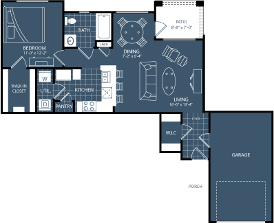 764 sq. ft. to 785 sq. ft. A4 floor plan