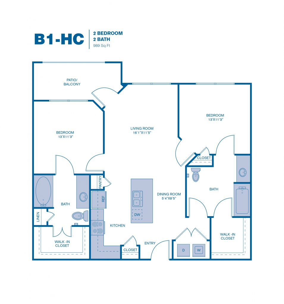 989 sq. ft. B1 floor plan