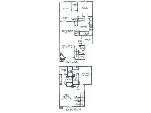 1,252 sq. ft. B floor plan