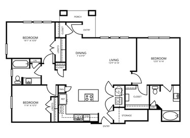 1,394 sq. ft. C2 floor plan