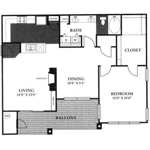 944 sq. ft. A4 floor plan