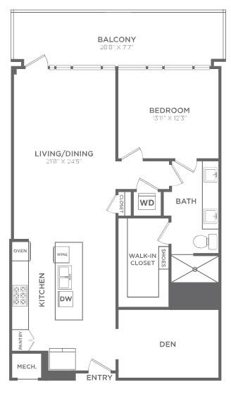 1,193 sq. ft. TA7 floor plan
