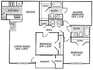 1,202 sq. ft. VICTORIA floor plan