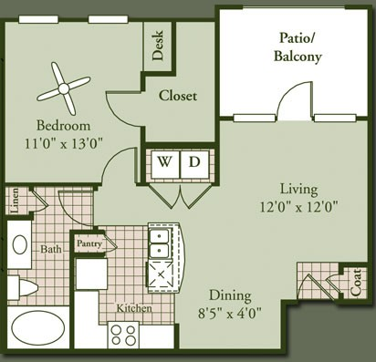 688 sq. ft. AMETRINE floor plan