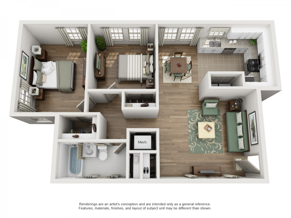 983 sq. ft. F floor plan