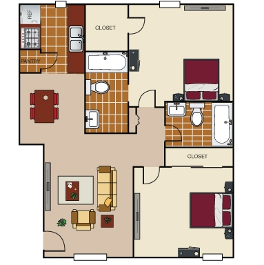 740 sq. ft. B3 floor plan