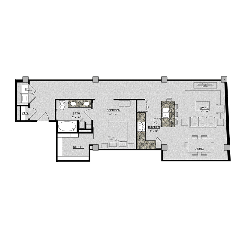 1,020 sq. ft. Iris floor plan
