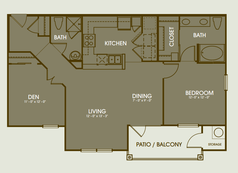 1,125 sq. ft. Pinehurst floor plan