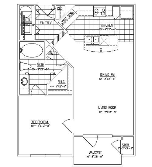 694 sq. ft. White Oak floor plan