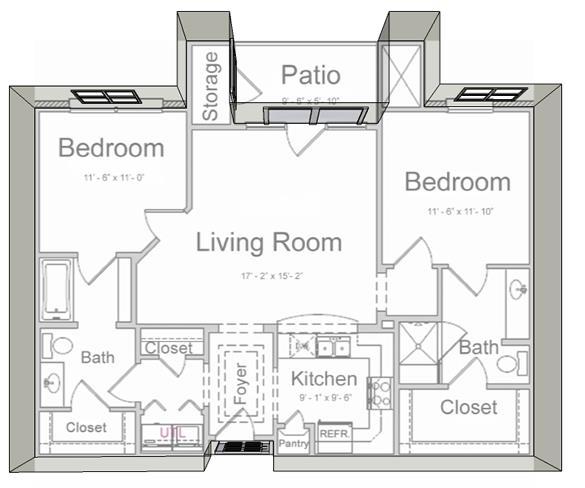 1,045 sq. ft. B1 60% floor plan