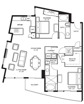 1,381 sq. ft. to 1,454 sq. ft. B2 floor plan