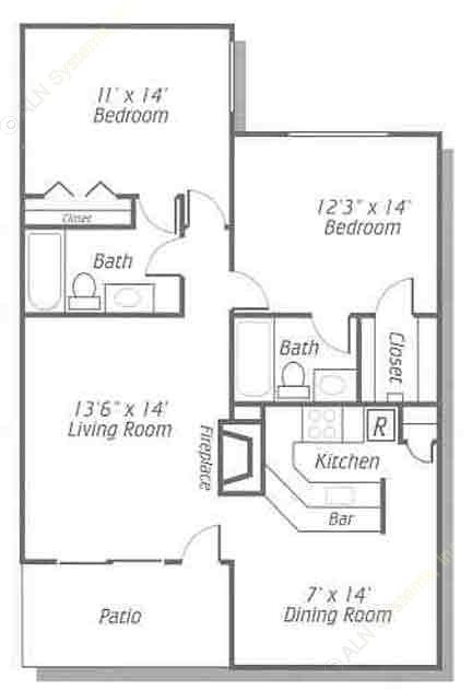1,008 sq. ft. B/B1 floor plan