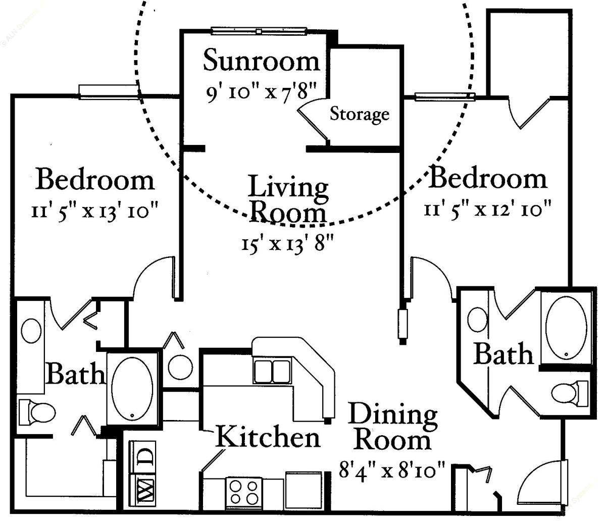 1,123 sq. ft. B2 floor plan