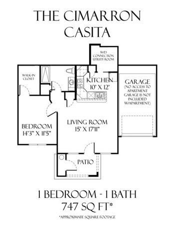 747 sq. ft. Cimarron Casita floor plan