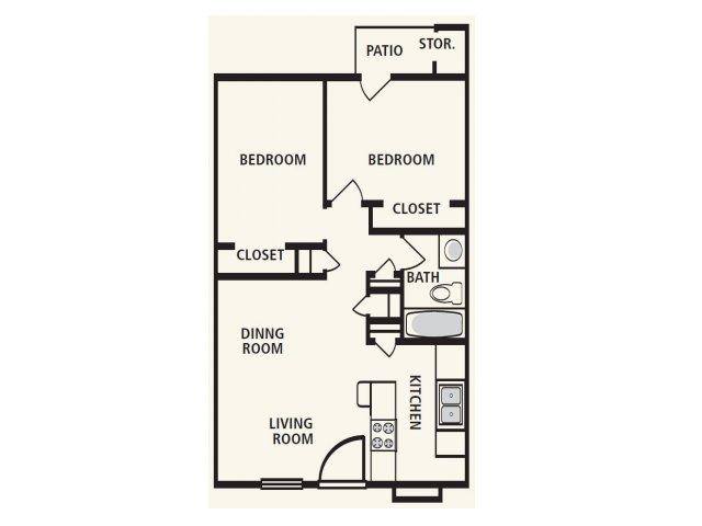 776 sq. ft. B1 floor plan