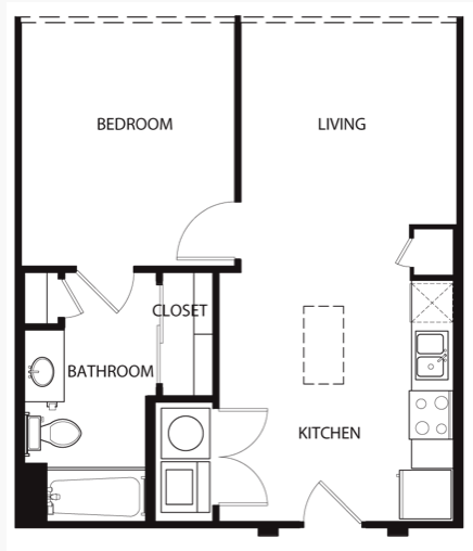 604 sq. ft. to 625 sq. ft. A floor plan
