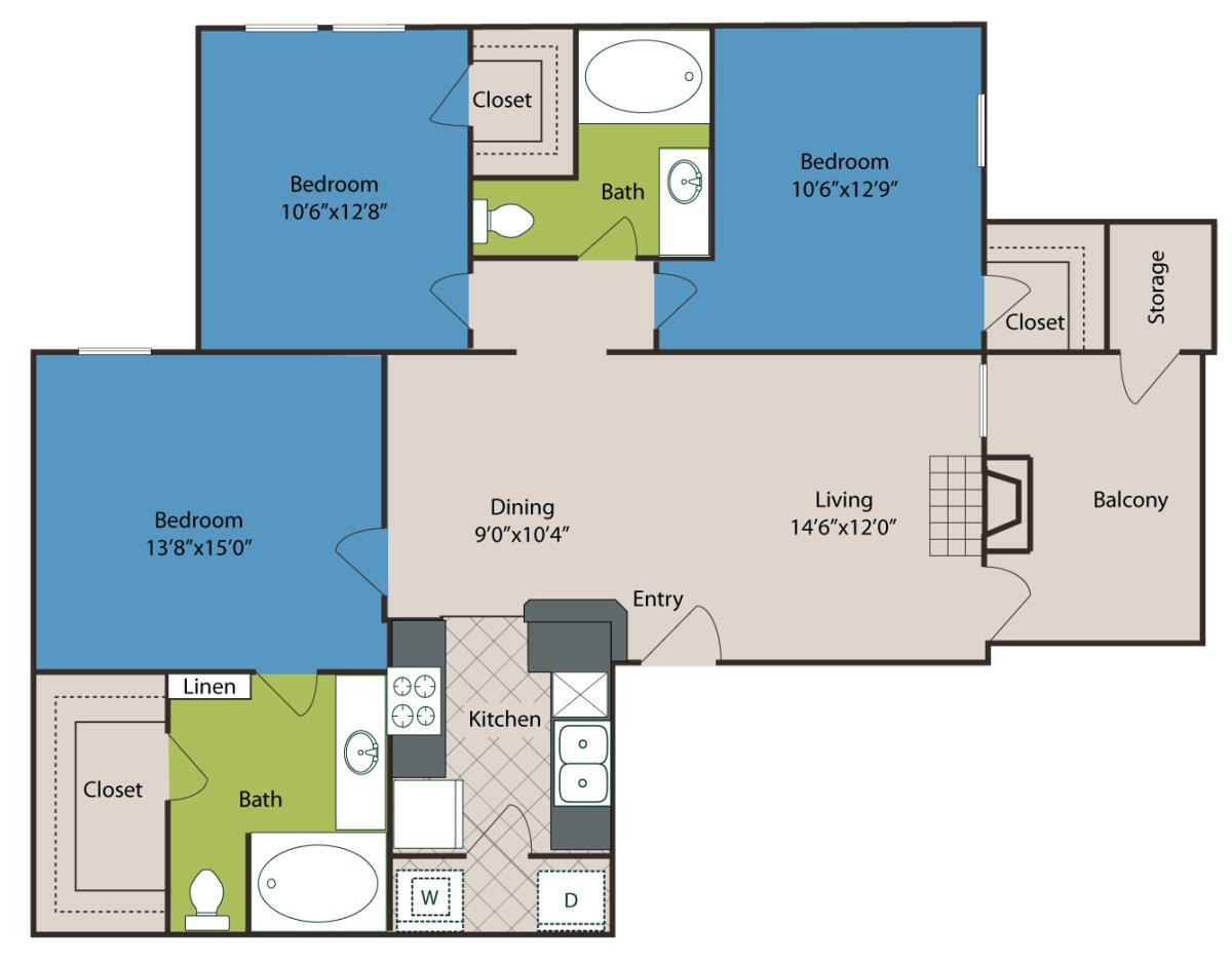 1,181 sq. ft. C1 floor plan