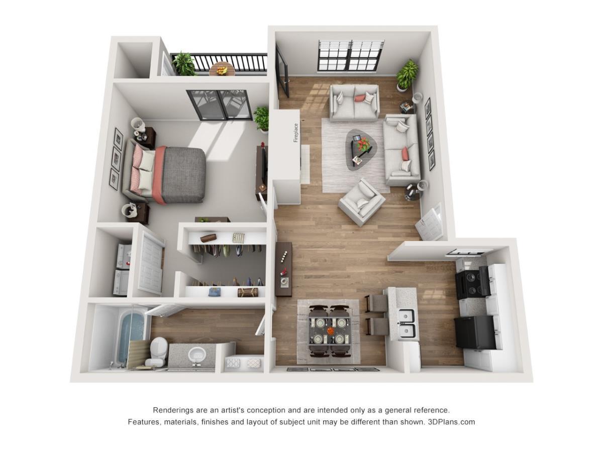 789 sq. ft. A3 floor plan