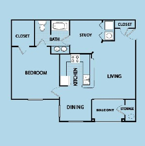 975 sq. ft. B floor plan