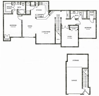 1,402 sq. ft. C2ug floor plan