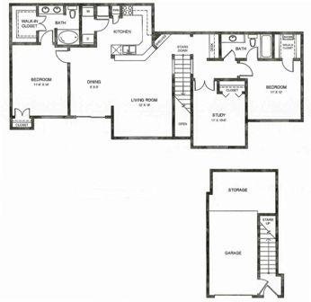 1,402 sq. ft. C2ug floor plan