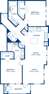 1,164 sq. ft. B1B floor plan