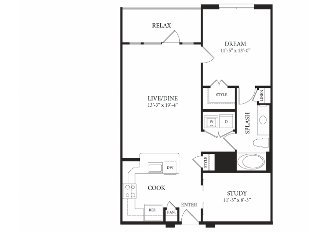880 sq. ft. Vatican floor plan