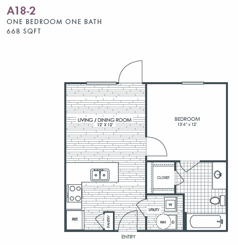 668 sq. ft. A18-2 floor plan
