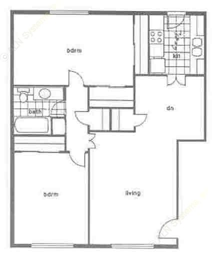 1,104 sq. ft. C1 floor plan