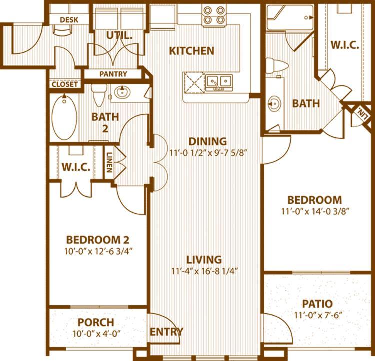 1,098 sq. ft. C2/60% floor plan