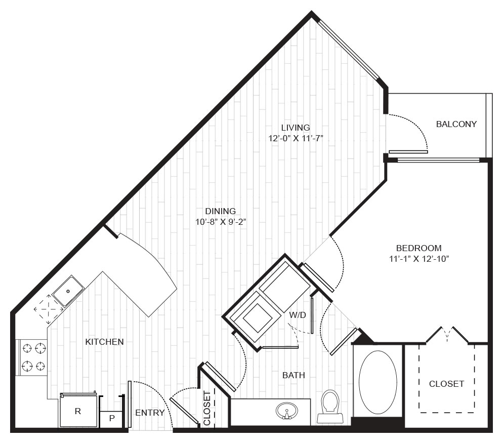 741 sq. ft. A3B floor plan